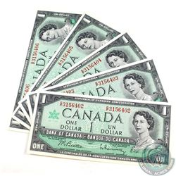 5 x 1967 $1.00 Notes with G/P Prefix and Consecutive Serial Numbers all in UNC Condition. 5 pcs