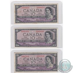 Group Lot of 3x different Prefixes of 1954 Devil's Face $10.00 Note. Included are C/D, D/D and E/D.