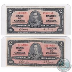 Pair of 1937 $2.00 Notes with Gordon-Towers Signatures in high grade. 2 pcs