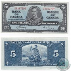 1937 $5.00 Note with Gordon-Towers Signatures in High Grade.
