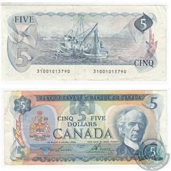1979 Replacement $5.00 Note with Lawson-Bouey Signatures.