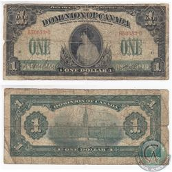 1917 $1.00 Note from the Dominion of Canada, No Seal or Imprint Variety.