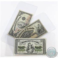 Three different series of 25c Shinplaster dating from 1870 to 1923. Included is an 1870, a 1900 and