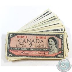 50 x 1954 $2.00 Notes in Average Circulated Condition. 50 pcs
