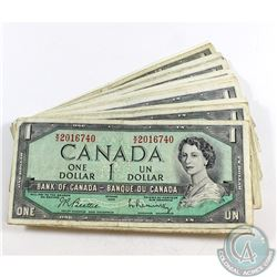 50 x 1954 $1.00 Notes in Average Circulated Condition. 50 pcs
