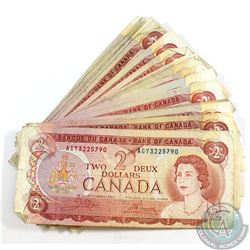 25 x 1974 $2.00 Notes in Average Circulated Condition. 25 pcs