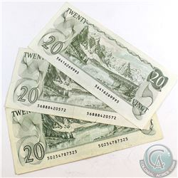 Complete Signature type set of the 1979 $20.00 Note. Included are 3x 1979 $20.00 Notes, one of each
