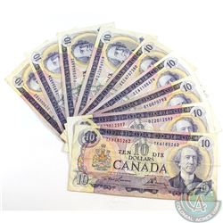 9 x 1971 $10.00 Notes in Average Circulated Condition. 9 pcs