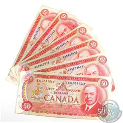 6 x 1975 $50.00 Notes in Average Circulated Condition. 6 pcs
