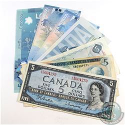 Run of 7x Different Series of $5.00 Notes dating from 1954 to 2013. Included is a 1954, 1972, 1979,