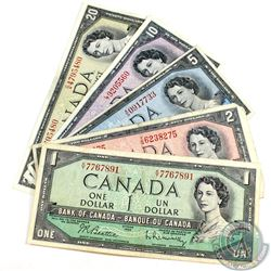 Run of 5x Different Denominations from the 1954 Modified Portrait Series. Included are $1, $2, $5, $