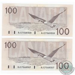 Pair of 1988 $100.00 Notes with Thiessen-Crow Signatures and Consecutive Serial Numbers in Almost UN