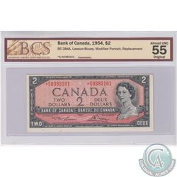 1954 Replacement $2.00 Note, Prefix *K/G, BCS Certified AU-55, Original.