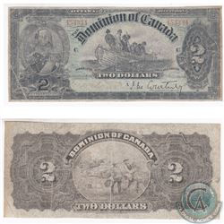 Scarce 1897 $2.00 Note from the Dominion of Canada.