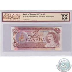 1974 Replacement $2.00 Note with Prefix *BA, BCS Certified CUNC-62, Original.