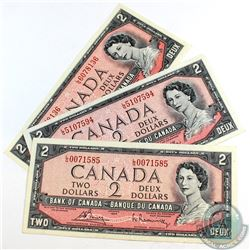 3 x 1954 Changeover $2.00 Notes with Bouey-Rasminsky Signatures and L/G Prefix. 3 pieces.