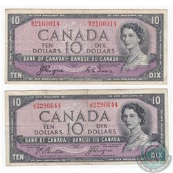 2 x 1954 Devil's Face $10.00 Notes with two different Signature Combinations. 2 Pieces.