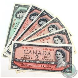 6 x Changeover Prefixes from the 1954 Modified Portrait Series. Denominations of $1 and $2. 6 Pieces