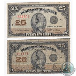 2 x 1923 25c Notes with Neat Sheet Numbers Consistent of Two Unique Numerals. 2 Pieces.