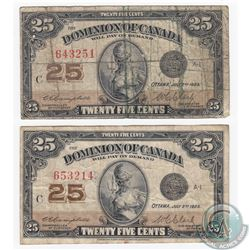2 x 1923 25c Notes with Neat Sheet Numbers Consistent of One of Every Numeral from 1 to 6. 2 Pieces.