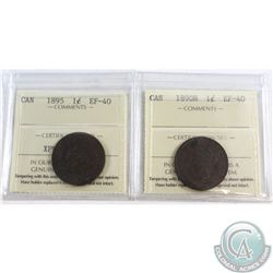1890-H & 1895 Canada Large cent ICCS Certified EF-40. 2pcs