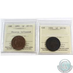 1892 Canada 1-cent Obverse 3 ICCS Certified AU-55 (cleaned) & 1896 Canada 1-cent ICCS Certified AU-5