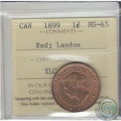 1899 Canada Large Cent ICCS Certified MS-65 Red; Landon Sale. Coin contains 80% original red lustre.