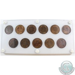1911-1920 Canada Large Cent Collection in a custom hard plastic holder (extra Obverse coin is a 2nd