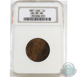 1901 Canada Large 1-cent ICCS Certified MS-65 Red/Brown