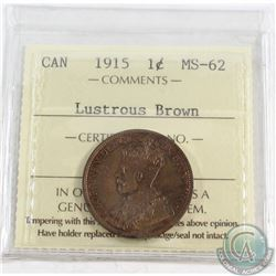 1915 Canada Large 1-cent ICCS Certified MS-62 Lustrous Brown
