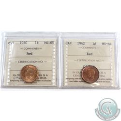 1940 Canada 1-cent ICCS Certified MS-65 & 1942 Canada 1-cent ICCS Certified MS-64. 2pcs