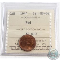 1944 Canada 1-cent ICCS Certified MS-64 Red