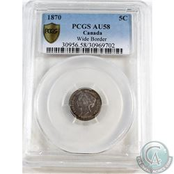 1870 Wide Border Canada 5-cents PCGS Certified AU-58. Coin exhibits some significant dies clashes on