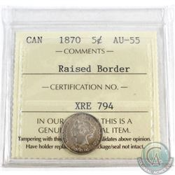 1870 Raised Border Canada 5-cent ICCS Certified AU-55