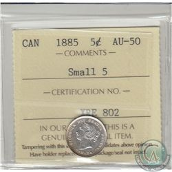 1885 Small 5 Canada 5-cent ICCS Certified AU-50