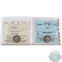 1886 Large 6 Canada 5-cent ICCS Certified F-15 & 1886 Small 6 5-cents CCCS Certified EF-40. 2pcs
