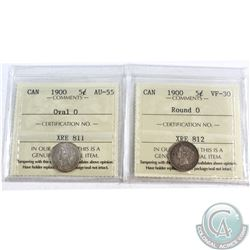 1900 Round 0 Canada 5-cent ICCS Certified VF-30 & 1900 Oval 0 5-cent ICCS Certified AU-55. 2pcs