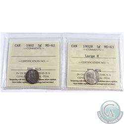 1902 Canada 5-cent ICCS Certified MS-62 & 1902-H Large H 5-cent ICCS Certified MS-63. 2pcs