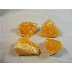 Lot of 4 Pieces of Rough Orange Calcite from Mexico
