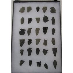 Frame of 30 Stone Arrowheads