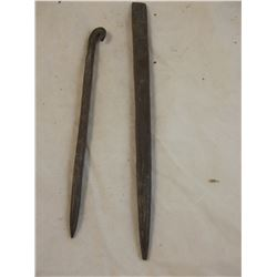 2 Rare Hammered Copper Auls or Drills