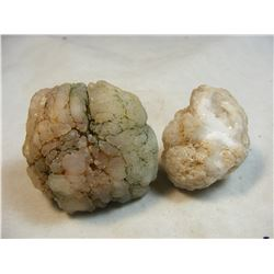 Lot of 2 Indian Rattle Rocks- Chalcedony Geodes