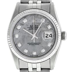 Mens Rolex 36mm Stainless Steel Meteorite Diamond Datejust Wristwatch