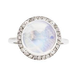 14KT White Gold Lady's 7.32ct Moonstone and Diamond Ring