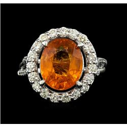 14KT White Gold 6.19ct Mandarin Spessartite and Diamond Ring