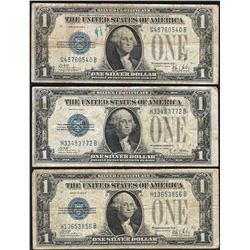 Lot of (3) 1928 $1 Funnyback Silver Certificate Notes