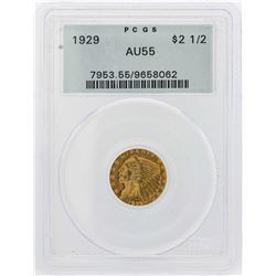 1929 $2 1/2 Indian Head Quarter Eagle Gold Coin PCGS AU55