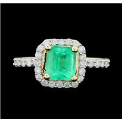 14KT Yellow Gold 1.29ct Emerald and Diamond Ring