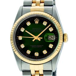 Mens Rolex 36mm Two Tone Yellow Gold Green Vignette Diamond DateJust Wristwatch