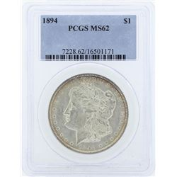 1894 $1 Morgan Silver Dollar Coin PCGS MS62